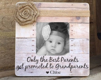 ON SALE Grandparents Frame Grandmother Grandfather Personalized Picture Frame Only the Best Parents Get promoted  Grandparents
