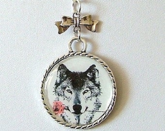 Wolf & Red Rose Necklace ~ Picture Dome Pendant ~ Romantic Gift ~ Gift Wrapped ~ Free UK Postage