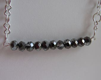 Crystal bar necklace on chain