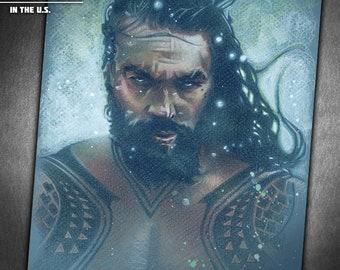 Aquaman - Original Portrait Drawing of Jason Momoa as Arthur Curry from Justice League and Batman vs. Superman: Dawn of Justice