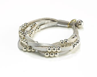 Leather Statement Bracelet - Woman Silver Bead Bracelet - Leather Fashion Jewelry - Stackable Bead Silver Bracelet - Layering Bracelet