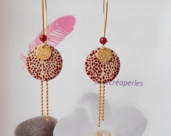 Earrings Golden sequin enameled Burgundy and ivory
