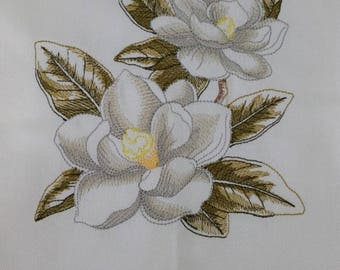 Embroidered Floral Kitchen Tea Towel - Magnolia Flower Lovely Birthday Gift Present