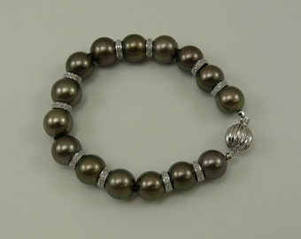Tahitian Pearl Bracelet ,14k White Gold Clasp, 18k White Gold  Diamond Rondels