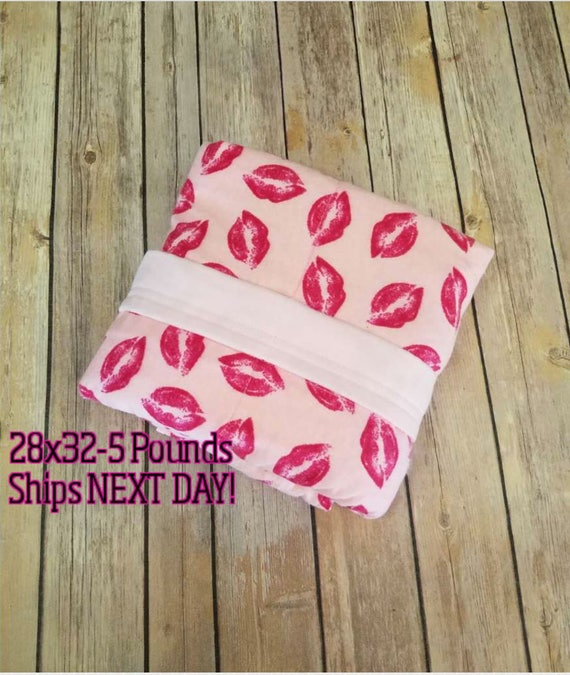 Lips, 5 Pound, WEIGHTED BLANKET, Ready To Ship, 5 pounds, 28x32, for Autism, Sensory, ADHD, Calming, Anxiety,