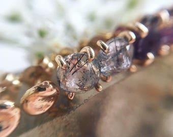 Quartz, 14k Gold Studs. Tourmaline Quartz Studs. Rutilated Quartz Studs. 14k Gold Gemstone Studs. Alternative Bride. Gifts for Her.