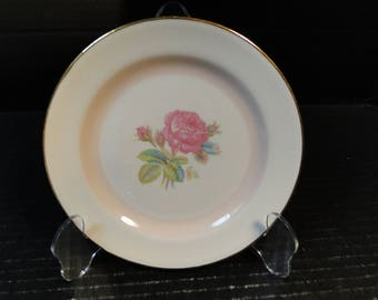 "Homer Laughlin Eggshell Nautilus N1580 Bread Plate 6"" Moss Rose EXCELLENT"