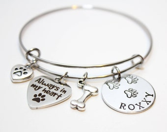 dog memorial bracelet, dog memorial bangle, dog memorial jewelry, dog name remembrance bracelet, dog name remembrance jewelry, dog theme