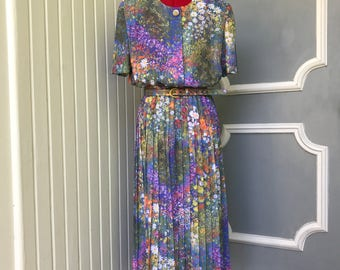 Medium - Large Vintage sheer floral garden artistic painting dress
