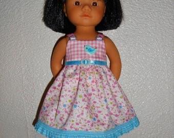 The doll clothes Marietta de of boobies de Maria González 34 cm - pink/turquoise dress