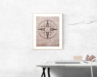 Compass Rose on Map Art