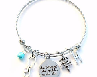 RN Charm Bracelet, She believed she could so she did Jewelry, Stainless Steel Charm Bangle, Grad Gift for retirement Graduation twisted her