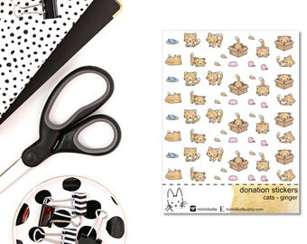 DONATION STICKERS - cats ginger - Planner Sticker