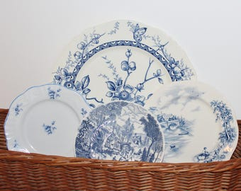 Blue and white transferware plate set of 4 for wall decor or mismatched dinnerware , English Bridges, Rossini,Portugal, Alfred Meakin