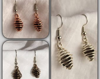Apache Tears in Hand Made Wire Cage Earrings