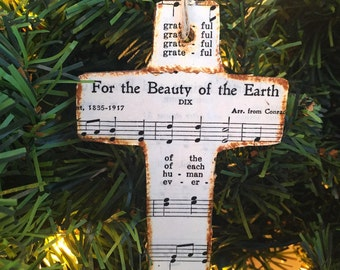 Christian Ornament, Cross Ornament, Hymn Ornament, Sheet Music Ornament, Rustic Ornament, Christmas Ornament Wood, Christian Gift, Wooden