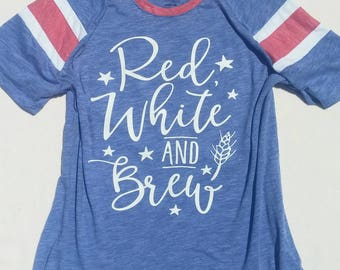 Red White And Brew T-Shirt, USA Womens Tank, 4th of July Funny, America Tank, 4th of July Drunk, Independence Day Womens, Flag Shirt