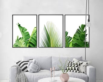 Set of 4 Tropical Leaves Leaf Prints set Green Wall art