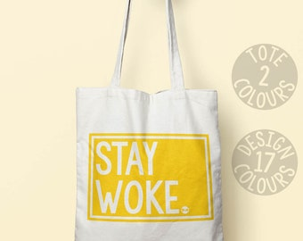 Stay Woke strong canvas tote bag, gift ideas for her, birthday present for teen, human rights, resistance, civil rights, US Politics, resist