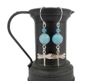 Quartz and Sterling Silver earrings blue sponge, dragonflies