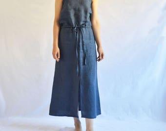 The Garden Dress: Women's Linen Maxi Dress in Navy