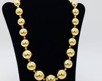 "Vintage Crown Trifari Graduated Gold Bead Necklace - 24"""