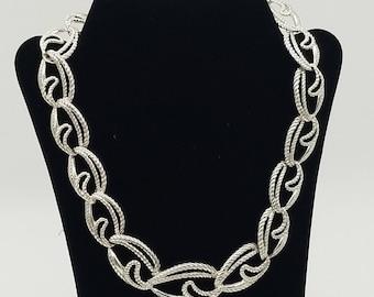 """Vintage Trifari Brushed Silver Tone Link Necklace- 15.5 - 18.5"""" Adjustable"""