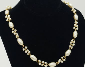 """Vintage Trifari Beaded Faux Pearl & Gold Tone Necklace - 18"""""""