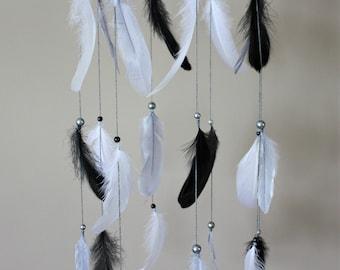 Black Grey White Mobile-Baby Boy Nursery-Feather Mobile-Dream Catcher Mobile-Tribal Nursery-Baby Shower Gift-Rustic Nursery-Baby Gift
