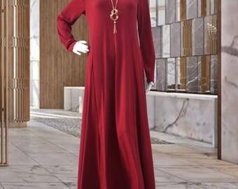 Maroon Jersey Maxi Dress with Full Sleeves | Modest Long Dress | Abaya Islamic Clothing S M L XL 2XL 3XL