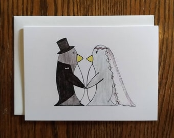 Penguin Wedding/Marriage/Anniversary/Love Greeting Card