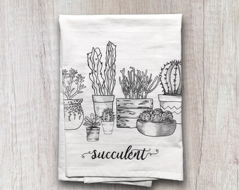Kitchen Towels, Flour Sack Towel, Succulents, Cactus, Hostess Gift, Dish Towel, Housewarming Gift, Gifts under 20, Home Decor, Dish Cloths
