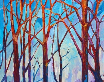 Golden Hour, Tree Art, Tree Study, Branches, Orange and Blue, Fine Art Print, Giclee, Canvas Print