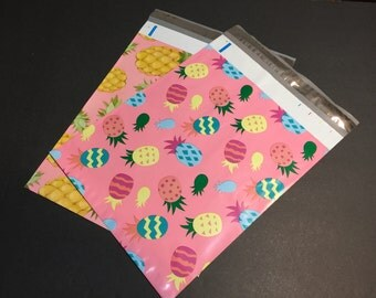 100  10x13 PINEAPPLE and Easter PINEAPPLE Designer Poly Mailers 50 each Envelopes Shipping Bags Spring