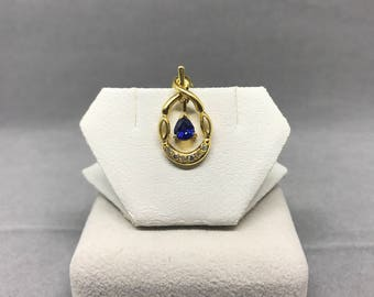 14K Yellow Gold Natural Sapphire (0.38 ct) Diamond Pendant, Appraised 2,150 CAD