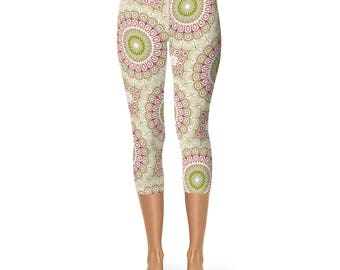 Capris Mandala Flower Yoga Pants, Pink and Green Leggings Tights, Women's Workout Clothes