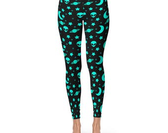 Alien Leggings, Outer Space Leggings, Blue and Black Night Sky Yoga Pants, Alien Heads Printed Tights, Star Leggings
