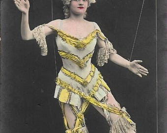 RARE Antique Marionette Postcard - Belle Epoque Real Photo Postcard - French Fantasy Postcard