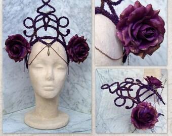 Flowers Tribal Fusion Headdress, Violet Roses Headband, Tribal Headpiece, Goth Headdress, Tribal Belly Dance Headband, Violet Larp Headdress