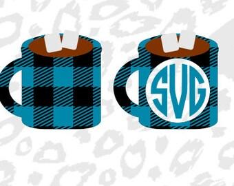 Plaid Svg; SVG; DXF; Hot Chocolate Svg; Chocolate; Digital Download; Monogram Svg; Monogram; Cricut; Cameo; Silhouette;
