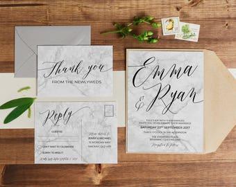 Printable Wedding Invitation   Wedding Invitations   Marble Wedding Invitation   Modern Wedding Invitation   Marble Wedding