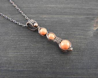 Wire wrapped pendant Artisan copper pendant Swarovski pearl pendant Unique jewelry Gift for her Coral pendant Copper jewelry