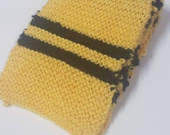 Hand Knitted Hufflepuff Scarf