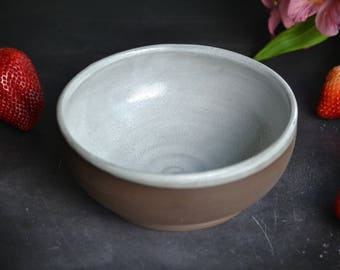 White shabby chic bowl handmade pottery