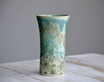 Green crazy micro crystal drippy tall ceramic tumbler handmade pottery