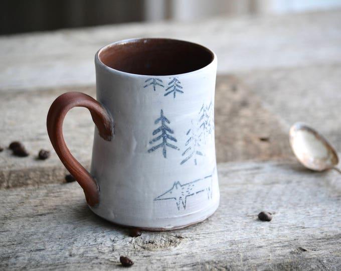 Rustic pottery handmade mug cabin chic tree and fox