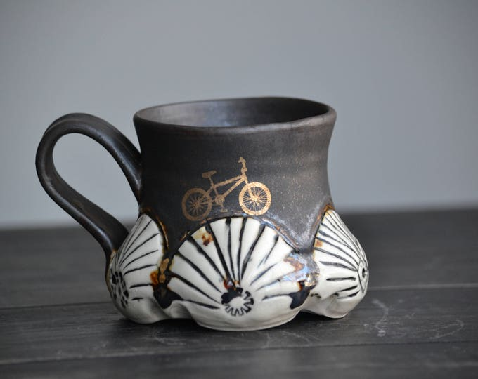 Handmade pottery mug antique organic look with gold bicycle and gold accents OOAK