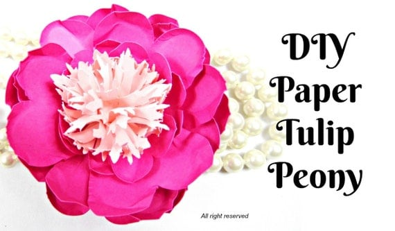 Tulip peony paper flowers diy paper flower patternstemplates il570xn mightylinksfo