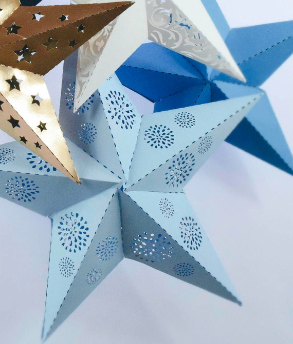 Paper star lantern svg cut files diy 3d paper stars for 3d paper star decoration