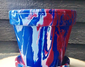 Red, White, and Blue Hand-Painted Pot//Red, White, and Blue Flower Pot